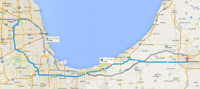 Limo Service to and from South Bend, Indiana