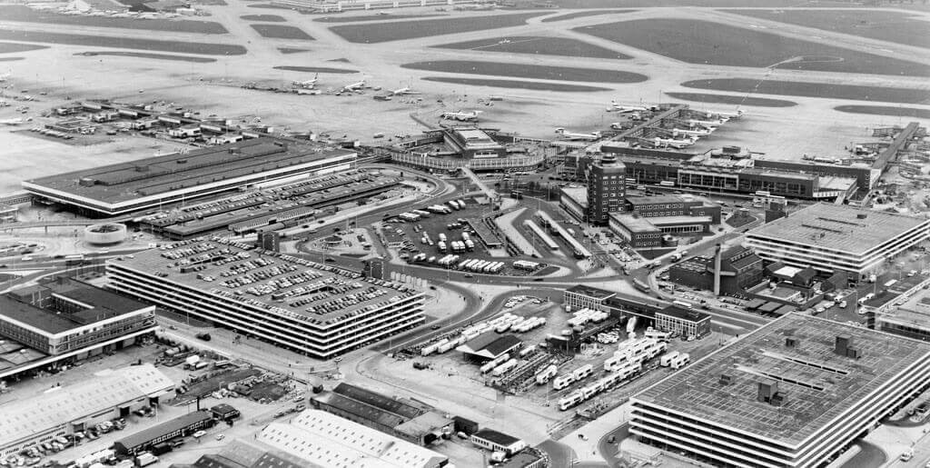 black and white shot from the sky of O'Hare International Airport in Chicago